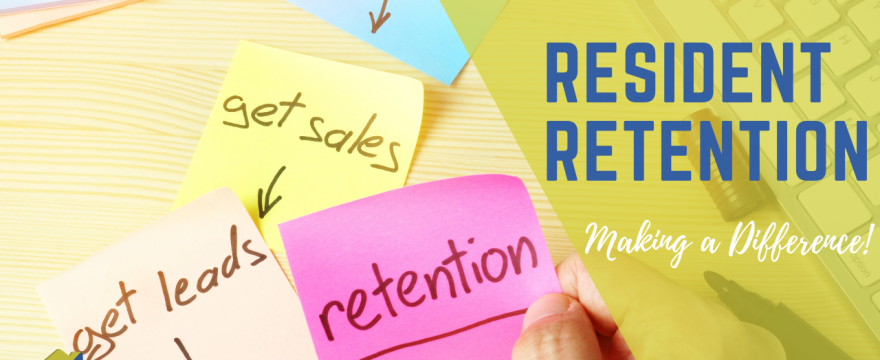 Various sticky notes focusing on resident retention and how to make a difference