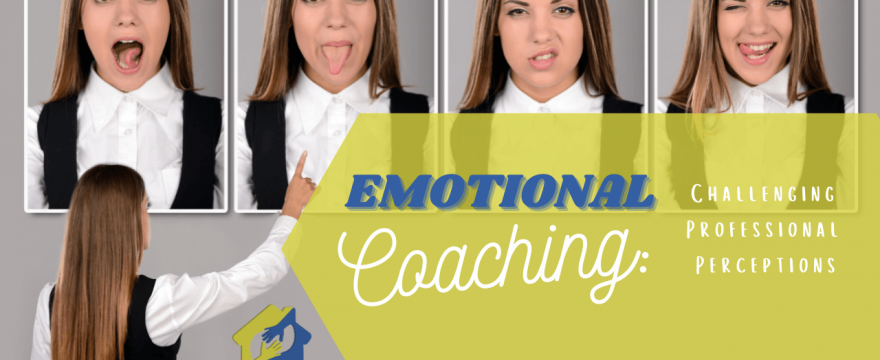 Woman choosing from photos of herself with different faces showing different emotions-JuvoHub Episode 26 Emotional Coaching- Challenging Professional Perceptions